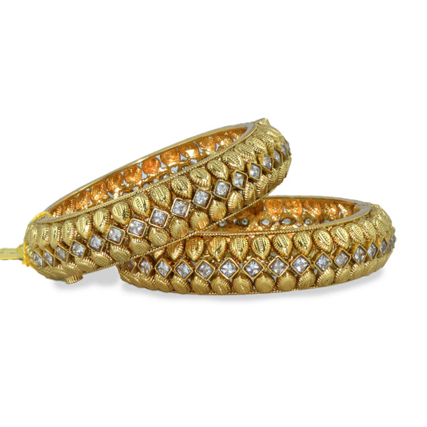 Gold Stone Studded Bangle Set