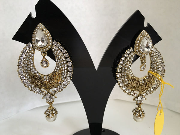 Gold & White Stone Studded Earrings