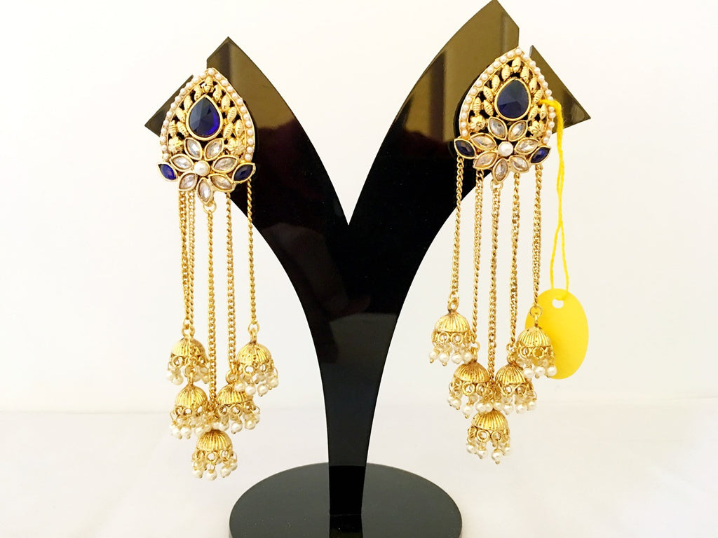 Stone Studded Chain Earings