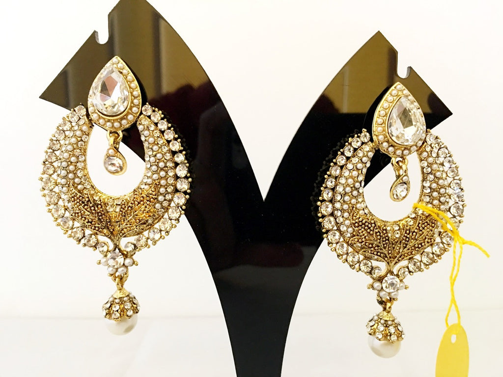 White & Yellow Stone Studded Earings