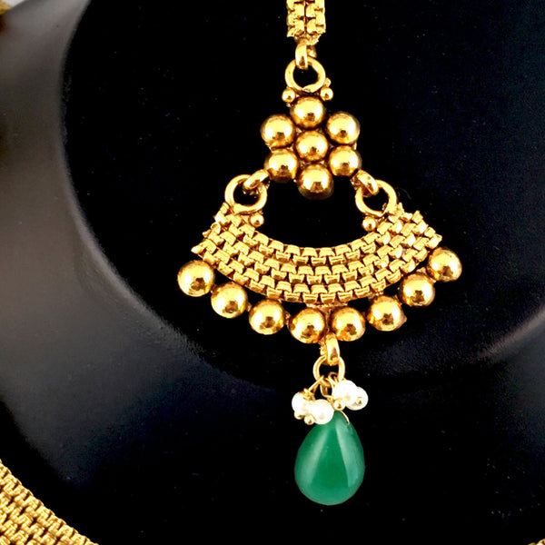 Gold & Green Beaded Necklace Set