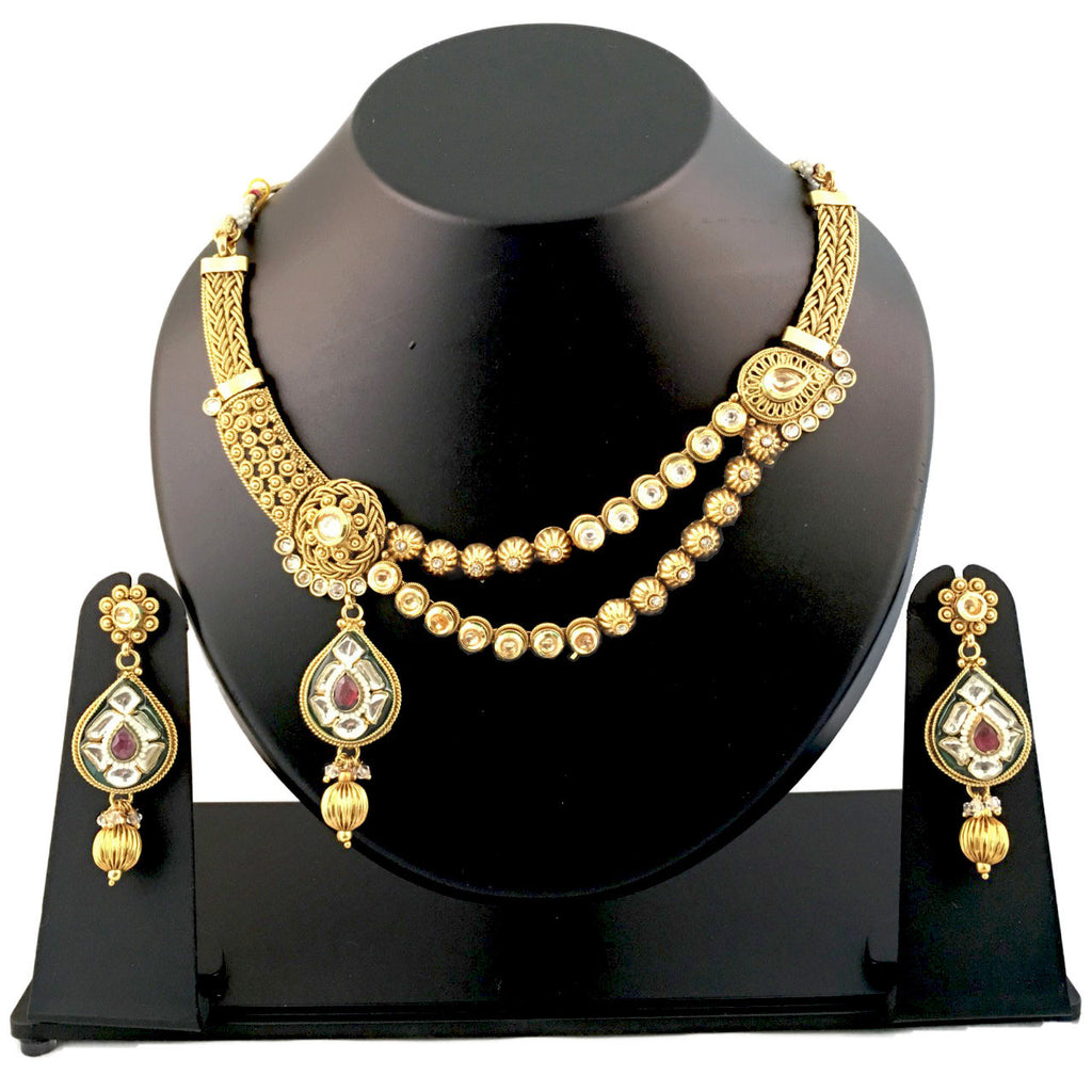 Trendy Gold & Stone Studded Necklace