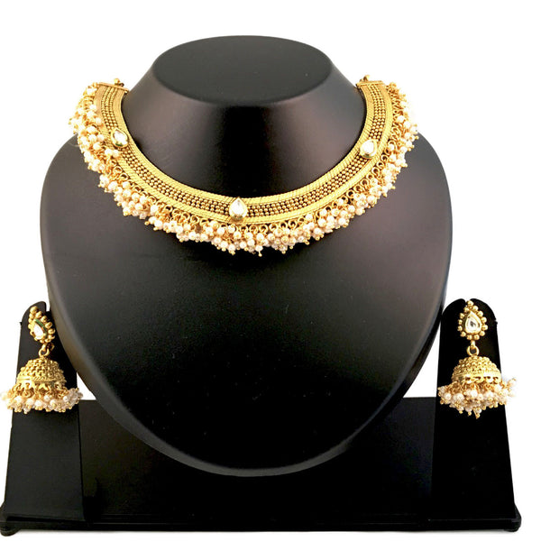 Golden & White Artificial Pearl Necklace Set
