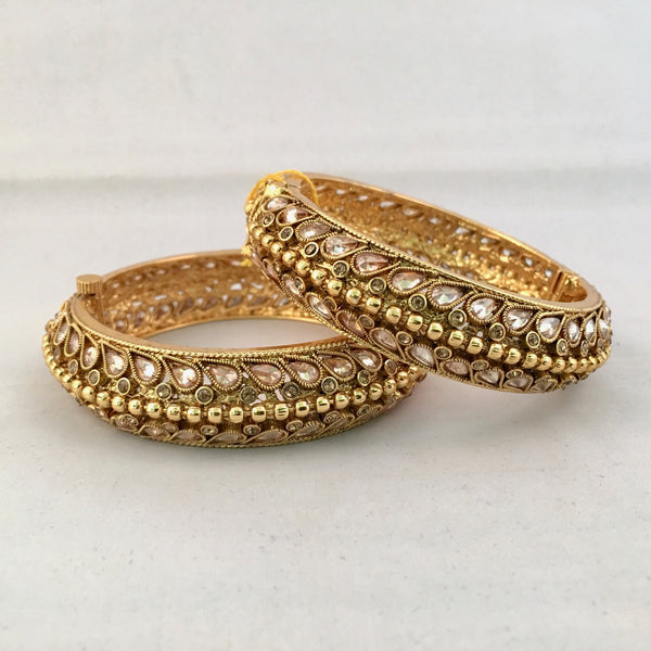 Kundan Studded Gold Bangle Set