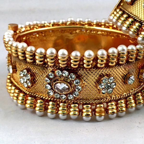 Gold Pearl Bangle Set