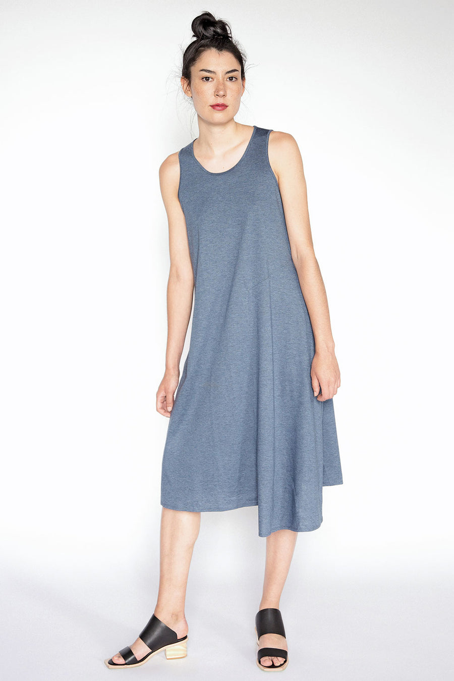 Blue sleeveless asymmetrical dress A.Oei