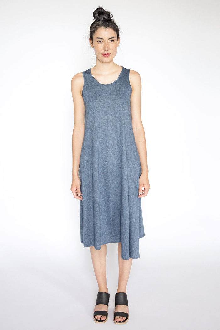 Blue asymmetrical sleeveless dress A.Oei