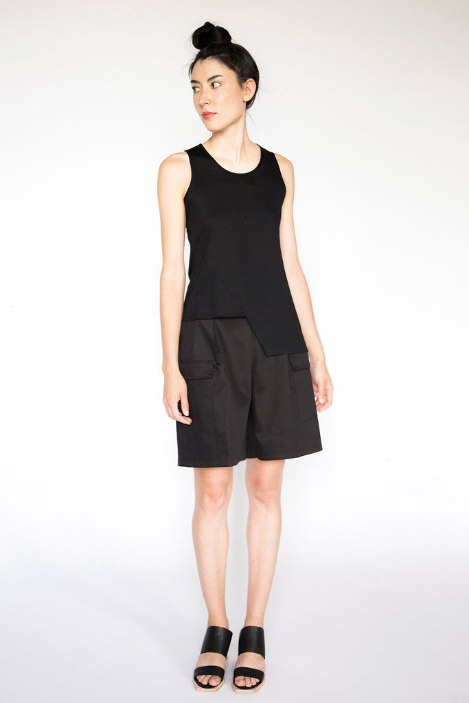 Black asymmetric sleeveless top