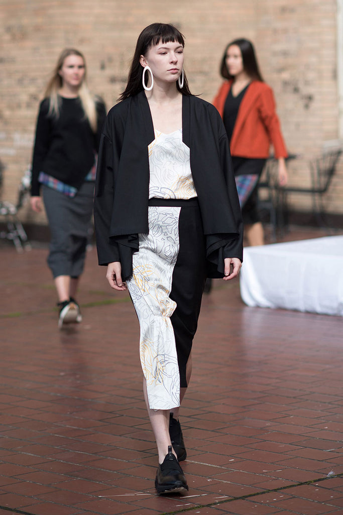 Black Kimono Jacket with skirt