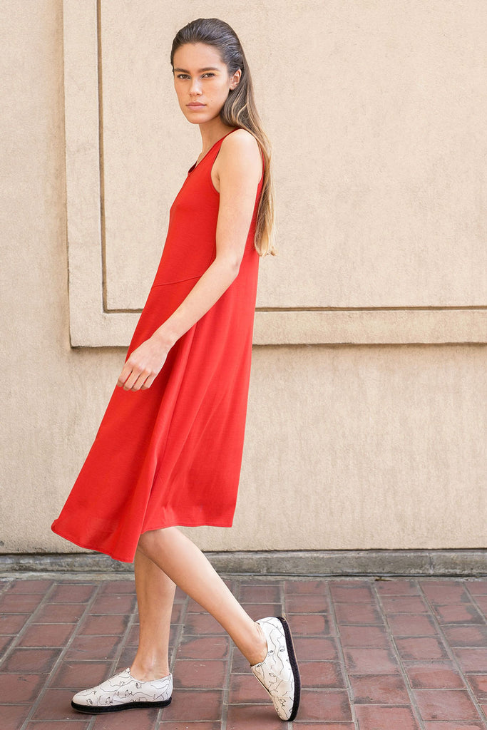 Red Asymmetrical Dress A.Oei Studio