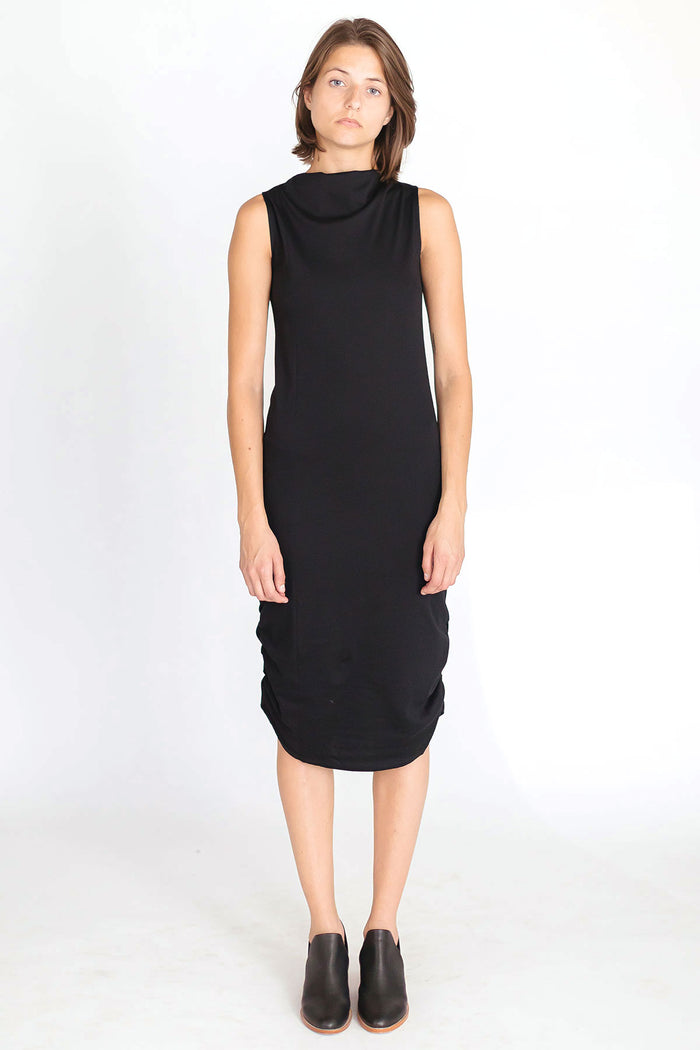 Black sleeveless dress with draped neckline