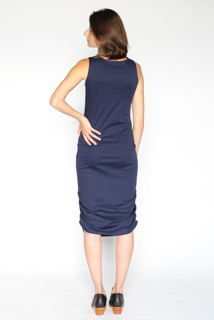 Sleeveless navy jersey dress