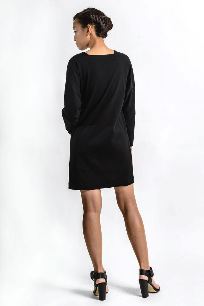 Black short dress with long sleeves