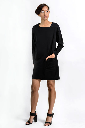 Black dress with long sleeves and pockets