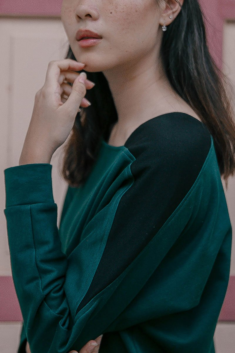Black and green sweater detail