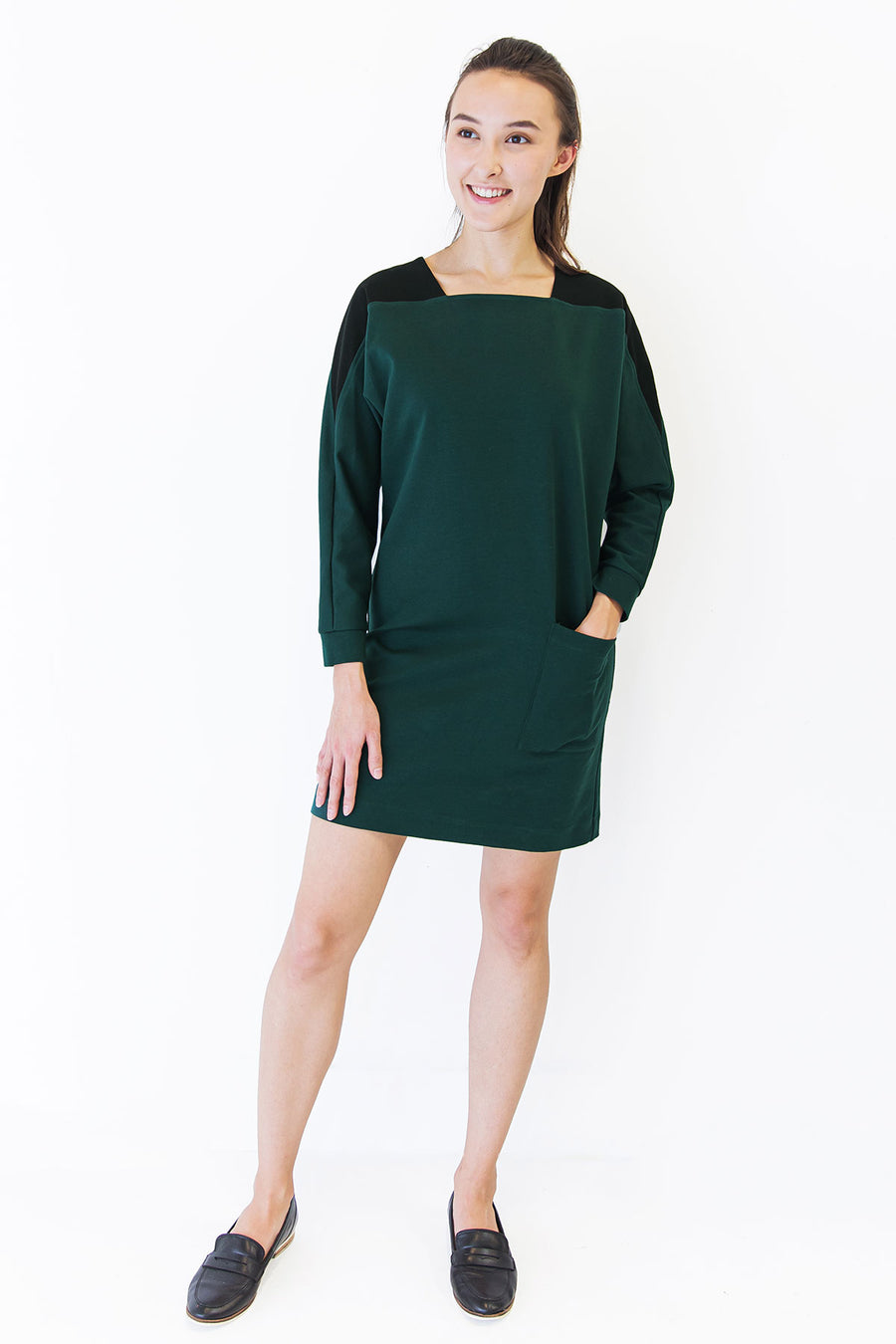 Green Sweater Dress with Pockets