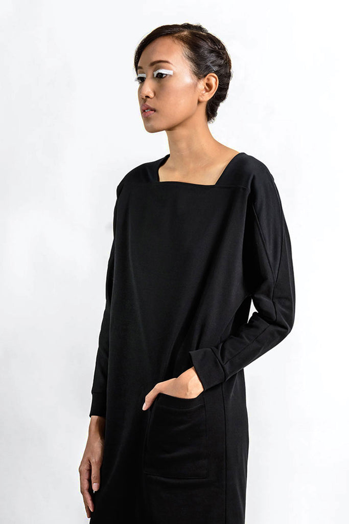 Black Sweater Dress with Pockets in Japanese Cotton A.Oei