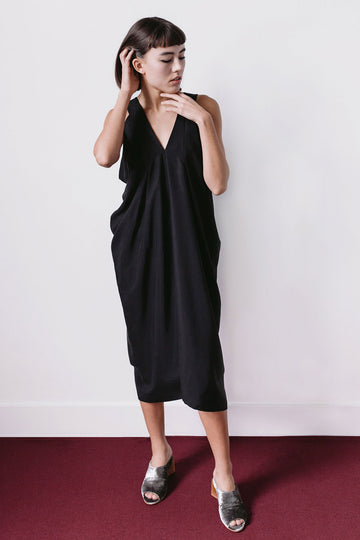 Long Sleeveless Black Draped Dress A.Oei Studio