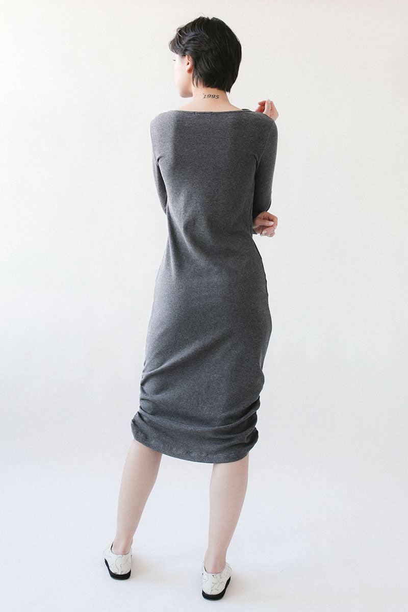 Draped Neck Long Sleeve Dress - Gray