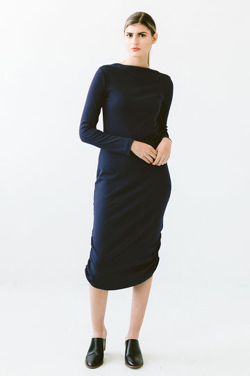 Draped Neck Long Sleeve Dress - Marine