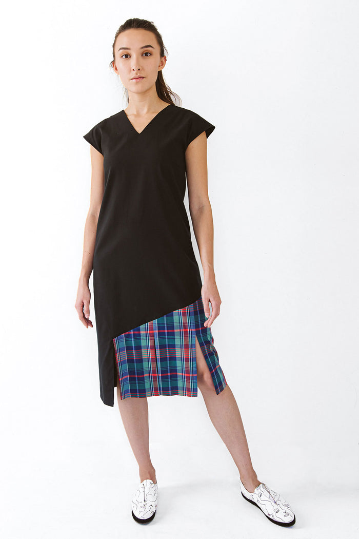 Black cap sleeve dress with plaid fabric