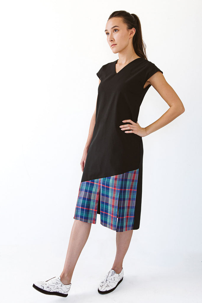 Black dress with tartan plaids