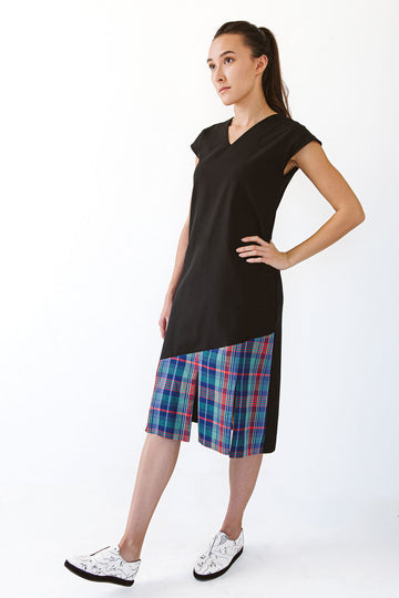 Sleeveless black dress with plaid panel
