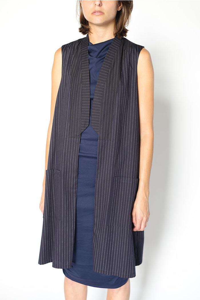 Navy blue sleeveless vest