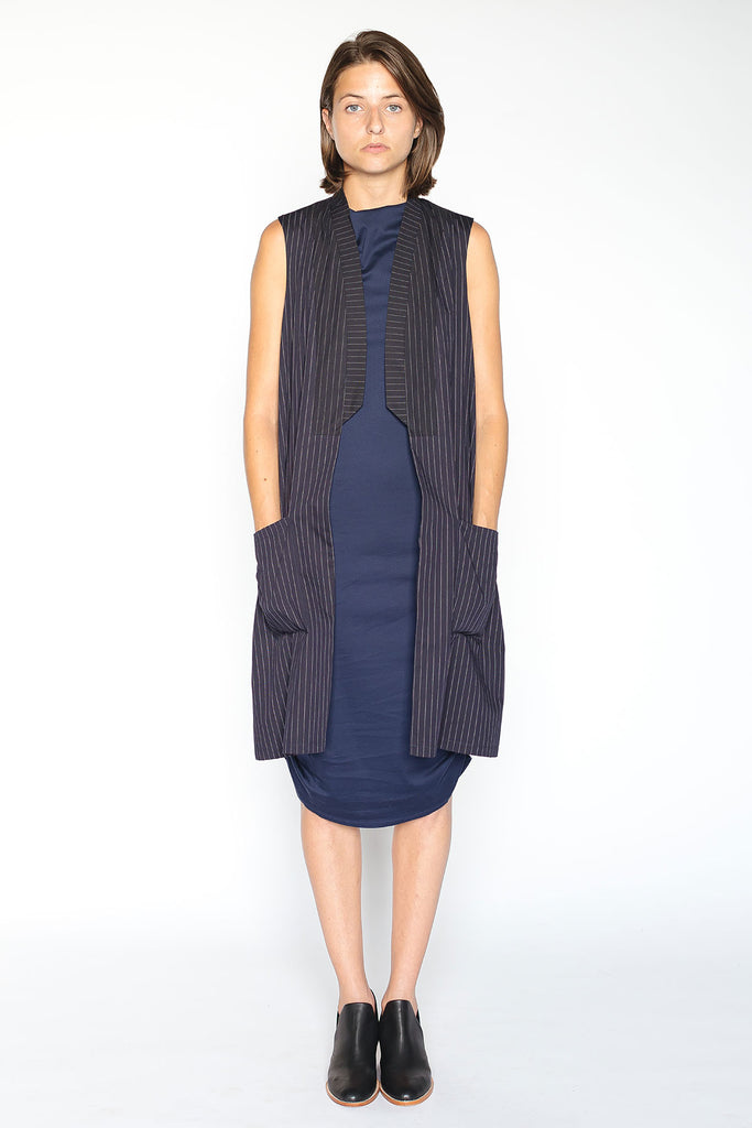 Pinstripe vest with pockets for women