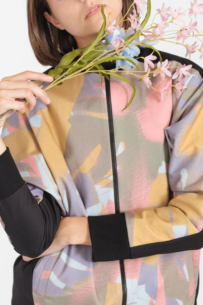 Zip up jacket with pink floral pattern