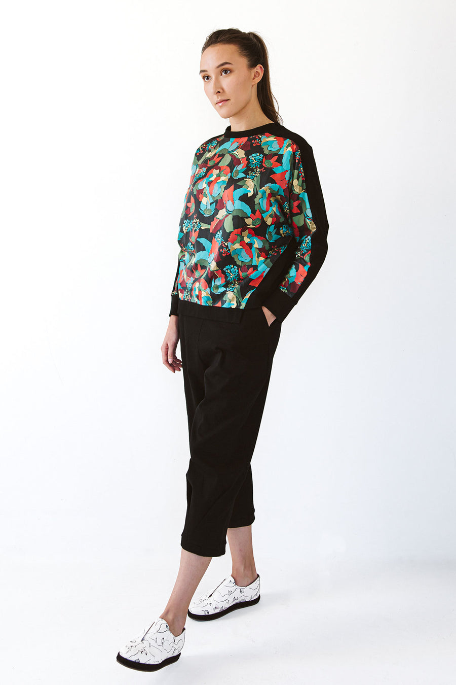 Designer sweater with colorful silk pattern