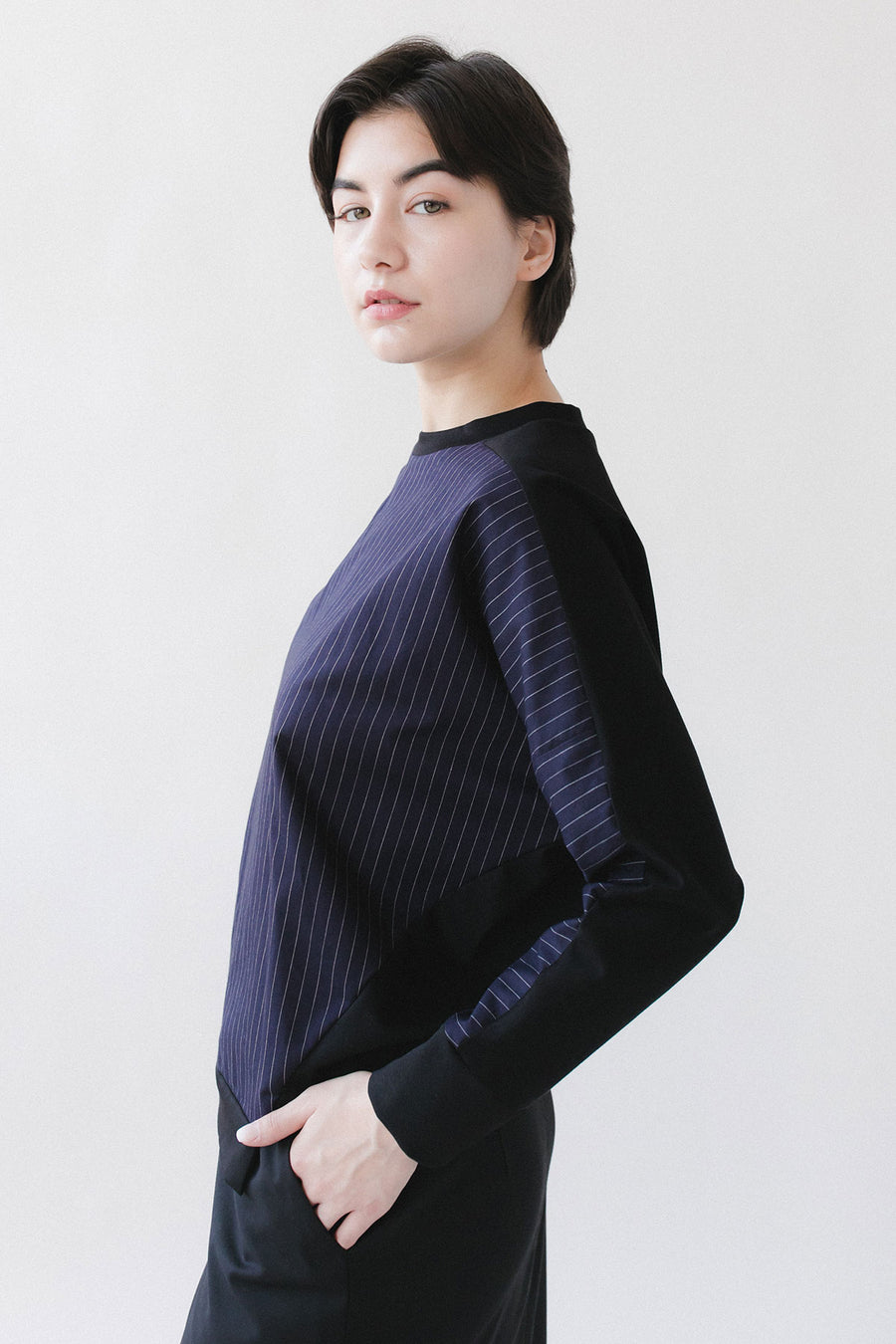 Pinstripe navy sweater