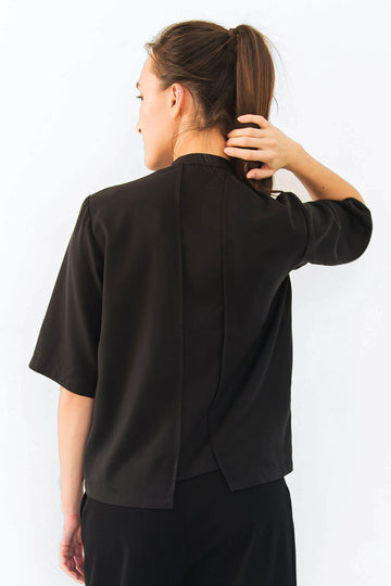 Black shirt with asymmetrical hems