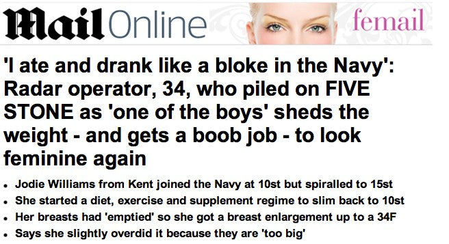Mail online article, Deni Kirkova member of the British Navy loses weight and enjoys a bit of sunbathing