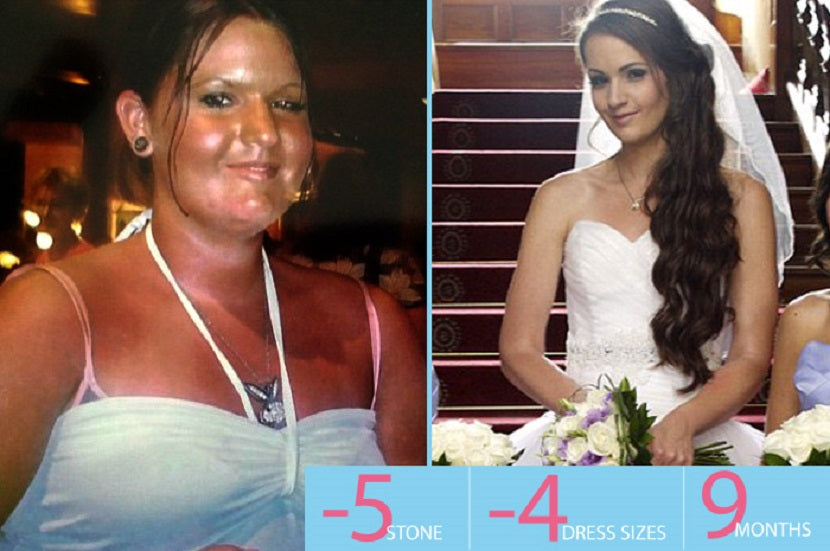 Incredible weight transformation, before and after wedding photo