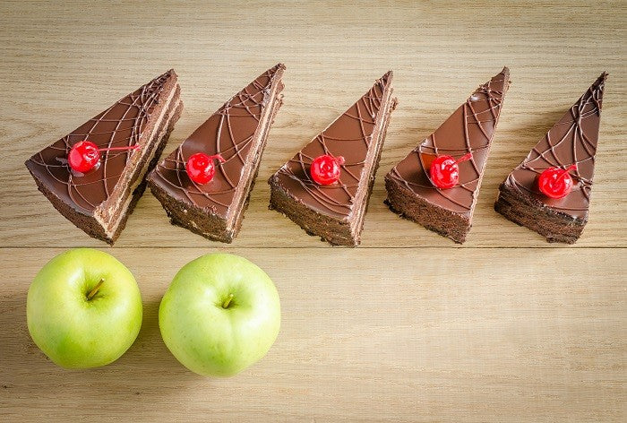 2 apples and 5 cakes which would you choose