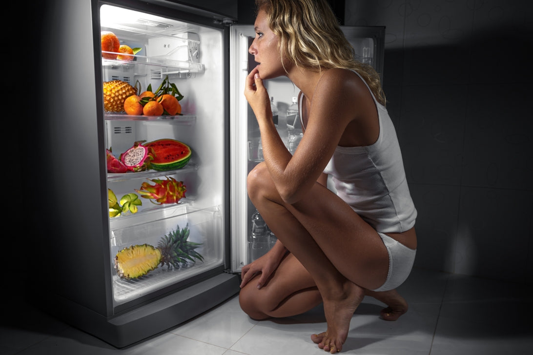 Healthy fridge snacks at night, fruits