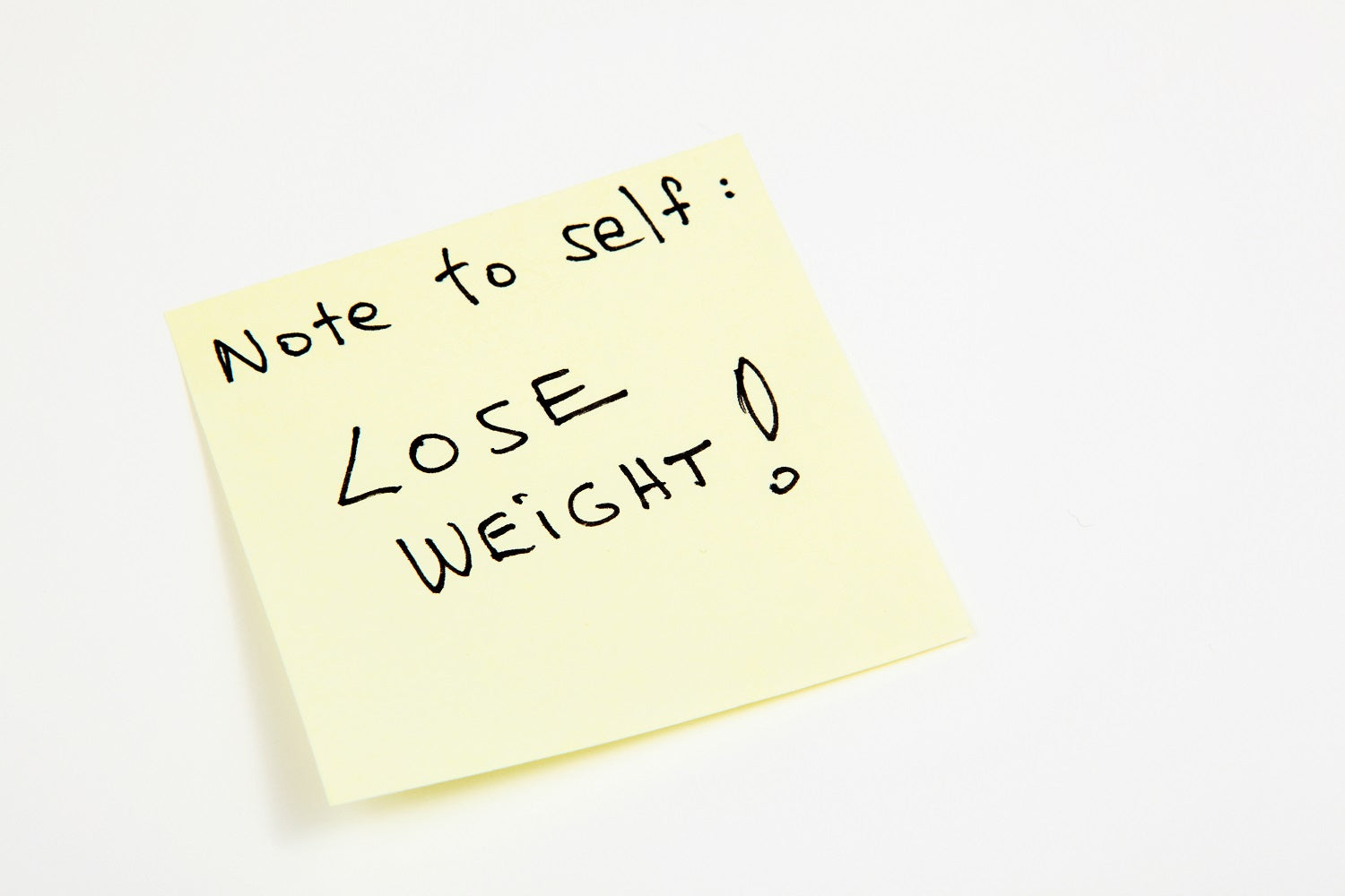 Note to self to lose weight, post-it note