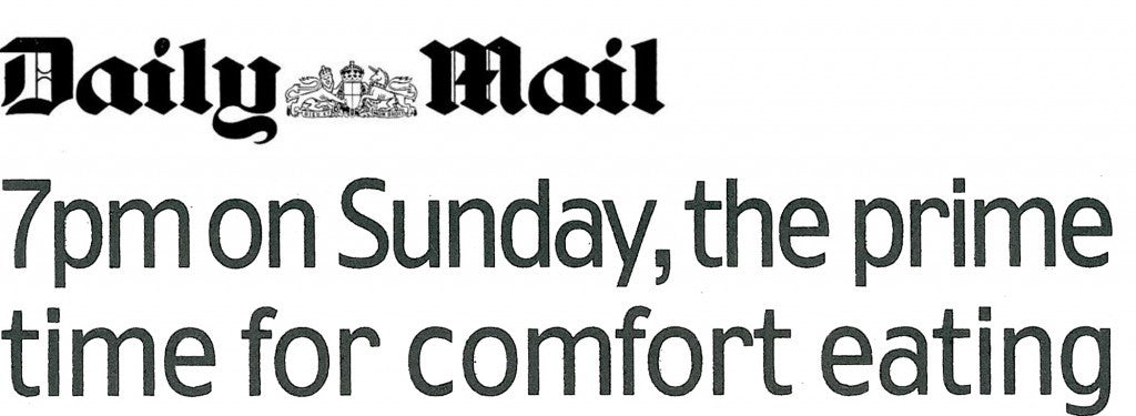 Daily mail header about the prime time to comfort eating