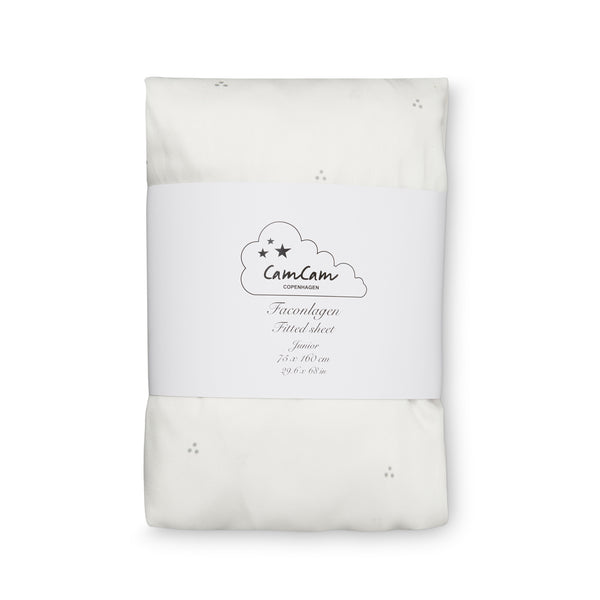 CAM CAM Fitted Sheet Dots Cream / Grey [Size: Cot/Junior]