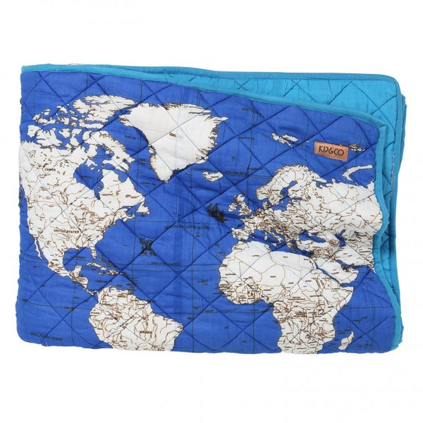 GLOBE TROTTER OCEAN QUILTED COMFORTER BEDSPREAD - Single