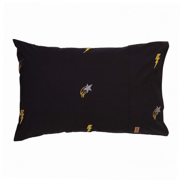 KIP&CO OUT OF SPACE BLACK EMBROIDERED SINGLE PILLOWCASE