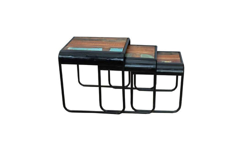 Ballina solid wood and metal nesting tables
