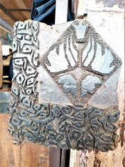 Close up of wood block print that is used when print onto batik fabric