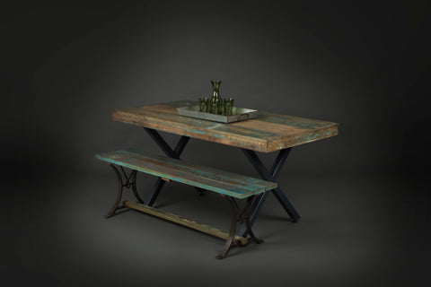 Mixed Color Reclaimed Wood Table with Steel Base and Bench