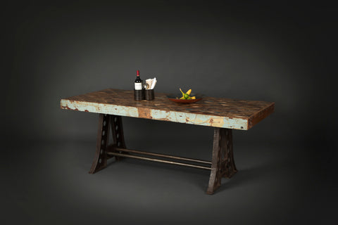 Industrial Geometric Reclaimed wood table top with cast iron base