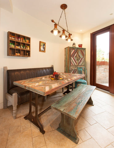 Reclaimed chevron table with bench and chair with back