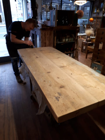 Natural handmade wooden table from reclaimed wood