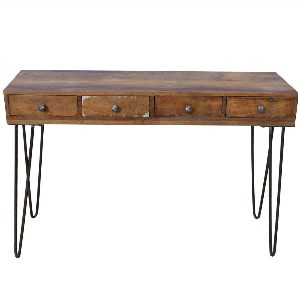 Solid Reclaimed Wood Hairpin Console Desk with Drawers