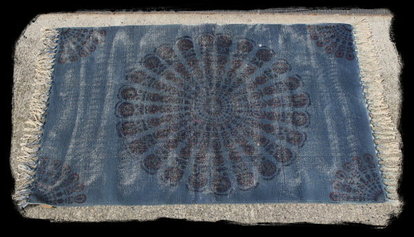 Block Print Pattern Organic Cotton Rug - HomeStreetHome.ie